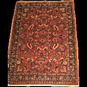 SALE Persian handmade Sarouk Oriental Rug circa 1930 , 4.10 x 3.6