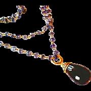 Iolite Gem Chain Smoky Topaz Drop 22k Gold Vermeil
