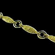 Art Nouveau 18k Yellow Gold Engraved Lozenge Link Bracelet