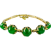 Art Deco Chrysoprase 18k Yellow Gold Bracelet