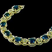 Sapphire Diamond 14k Gold Line Bracelet- 5.00 Carat Sapphire