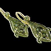 Antique Diamond 18k Yellow Gold Earrings