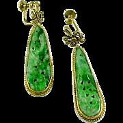 Pierced Jadeite Jade Gilt Pendant Earrings Ear Pendants