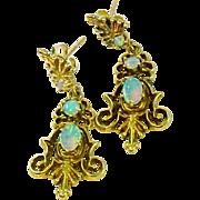 Opal 14K Yellow Gold Earrings