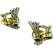 Retro Period Diamond 14k Tri-Gold Clip Earrrings