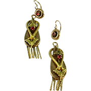 Victorian Ruby Day Nite English Pendant Earrings
