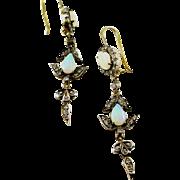 Antique Opal Diamond Silver-Topped 18k Gold Earrings