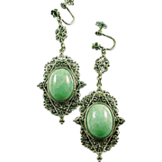 Italian Filigree Green Stone Sterling Silver Earrings