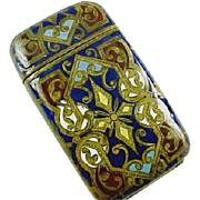 European Brass Enamel Match Safe Vesta Case