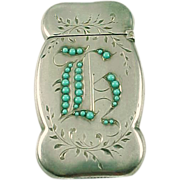 REDUCED Turquoise Sterling Silver Match Safe Vesta Case