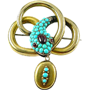 Antique Turquoise Garnet 14k Gold Snake Brooch