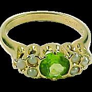Edwardian Peridot Seed Pearl 14k Gold Ring--Birks