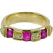 REDUCED Ruby Diamond 14K Stacking Half Eternity Band Ring--Heavy and Wide