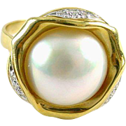 Mabe Pearl Diamond 18k Yellow Gold Ring