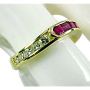 REDUCED Ruby Diamond  18k Gold Stacking Band Ring