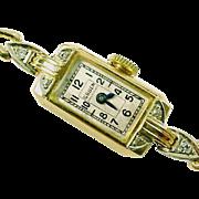 Art Deco Gruen 14K Diamond Wristwatch