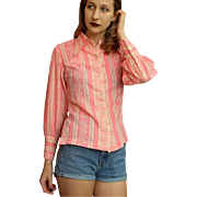 Vintage 1970s MILLER Women's Pink Western rockabilly Shirt/Top PEARL SNAPS 70s