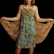 ****SPRING 2016 CLOSET CLEANOUT SALE ITEM*****Vintage 1960s Marjon Couture Floral Chiffon Mod