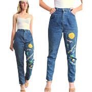 """****SUMMER OF '16 SALE ITEM*****Vintage 80s """"Valley Girl""""  Painted HIgh Waist Jeans"""