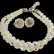 ****SUMMER OF '16  SALE ITEM*****Vintage 50s CORO demi-parure AB Crystal Rhinestone  Necklace