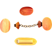 Vintage ART DECO 20S Bakelite Button-combo-Sweater Clip Set 1920s