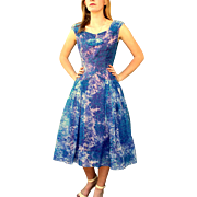 """Vintage 50s """"New Look"""" blue/purple Party Prom Dress 1950s"""