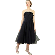 """AWESOME Vintage 50s Black TULLE party/prom Strapless Cocktail Dress """"New Look"""" 1950s"""