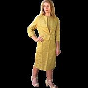 HIGH-END Vintage! SAK'S 5th Avenue 60s Mod Satin gold brocade Suit/Dress/Jacket ...