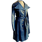 """UNUSUAL AZURE BLUE! Vintage 70s """"Spy Girl"""" Leather military/mod/hippie Trench Coat 1"""