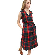 ON-TREND Vintage 70s PENDLETON Tartan Plaid Wool Jumper Dress 1970s