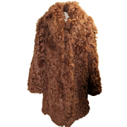 Vintage 70s European Mongolian Curly Lamb Wool/Hair/Fur hippie Coat 1970s