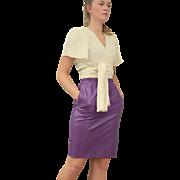 Vintage 80s Emanuel UNGARO Soft, GRAPE PURPLE Leather Pencil Skirt--- Extra Small