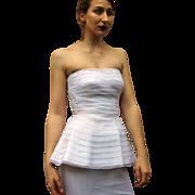 Vintage 80s WHITE Avant Garde/Column Custom WEDDING GOWN/Party Dress 1980s