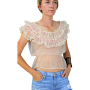 Rare Vintage 40s SHEER PINK Peasant RUFFLE Blouse Top -- w/Dragonfly Rhinestone Brooch 1940s