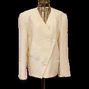 Vintage Haute Couture: 80s GALANOS Ivory Wool/Cashmere STRUCUTURAL MINIMALIST blazer/jacket ..