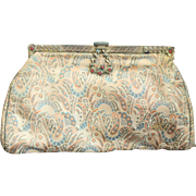 Art Deco Vintage 20s FRENCH SATIN Filigree/Stone Cocktail Bag Purse MADE IN FRANCE! 1920s
