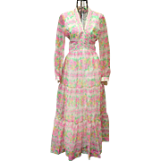 MUSEUM QUALITY Vintage 70s VICTOR COSTA floral hippie boho-chic Maxi Dress  1970s