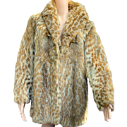 Chic and Lush!!! Vintage 80s CANADIAN LYNX Spotted Cat Fur Coat Jacket 1980s