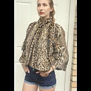 EXQUISITE Vintage 40s Real Fur GEOFFREY'S CAT Leopard/Ocelot print Coat Jacket - 1940s