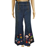 SOLD ❤Ultimate Hippie Bell Bottom Vintage 70s Festival WRANGLER Jeans with Patches/Patched!