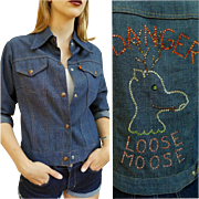 "So RARE Vintage 70s LEVI'S Orange Tab RHINESTONE ""Loose Moose"" Denim Shirt Jacket 19"