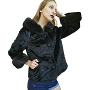 MOD❤ Vintage 60s Blk Faux Fur + REAL LUSCIOUS MINK Cropped Military Coat Jacket 1960s