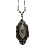 SALE Large Art Deco White Gold Camphor Pendant and Period Equivalent White Gold Chain. 16 ...