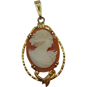 SALE Victorian Edwardian 10 Karat Yellow Gold Carved Angel Skin Coral Cameo Lavalier Pendant
