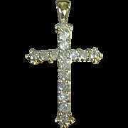 Vintage Solid Yellow Gold 1 Carat Round Cut  Diamond Cross Pendant
