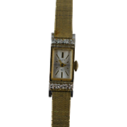 REDUCED 10k SOLID Yellow Gold Elgin Ladies Watch, Clean Dial, 8 Natural Diamonds, Mint Crystal