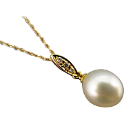 FINAL PRICE Vintage Estate Designer Tara Pearls 18 Karat Cultured South Sea Pearl and Diamond