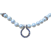 SALE 1940's-1950's FINE VINTAGE 14 Karat One-strand  Pearl, Diamond Necklace with ...