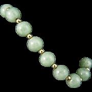 Rare Vintage 14 Karat Yellow Gold Natural Celedon Green Nephrite Jade Bracelet with 14 Karat .