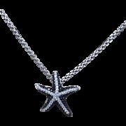 REDUCED Austrian Estate Starfish Black & White Diamond Pendant with Brilliant 14 Karat White .